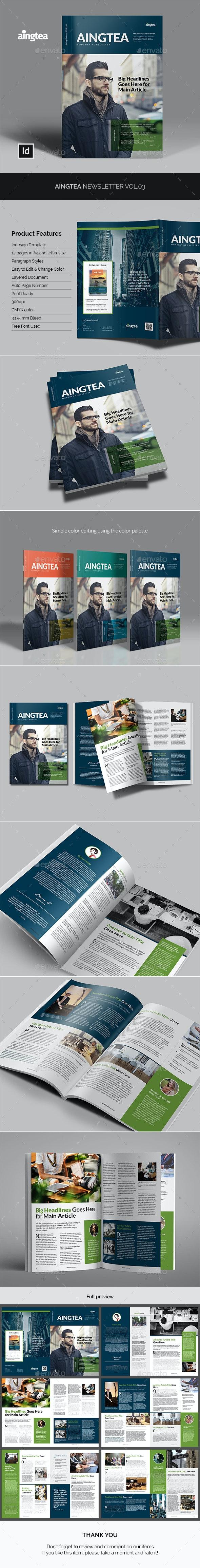 Aingtea Newsletter Vol.03 - Newsletters Print Templates