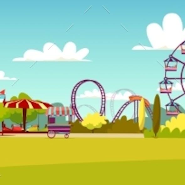 Amusement Park Vector Cartoon Illustration