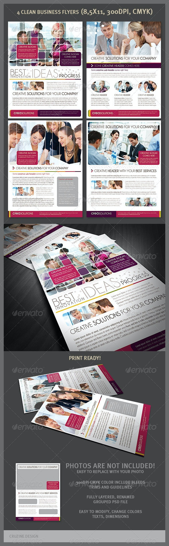 4 Clean Business Flyers - Corporate Flyers