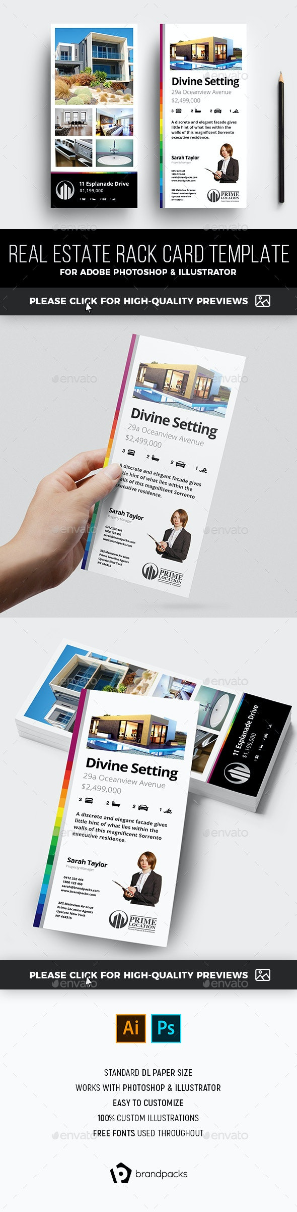 Real Estate DL Rack Card Template - Corporate Flyers