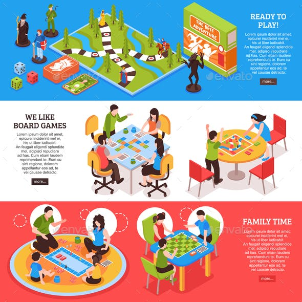 Board Games People Isometric Banners