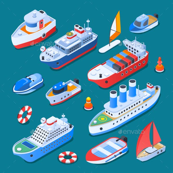 Ships Isometric Icons