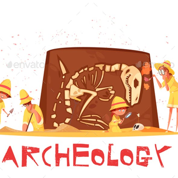 Archaeological Digs Dinosaur Skeleton Illustration