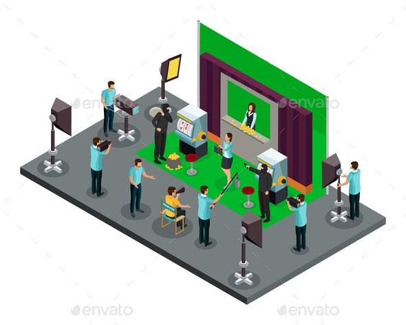 Isometric Filming Process Concept