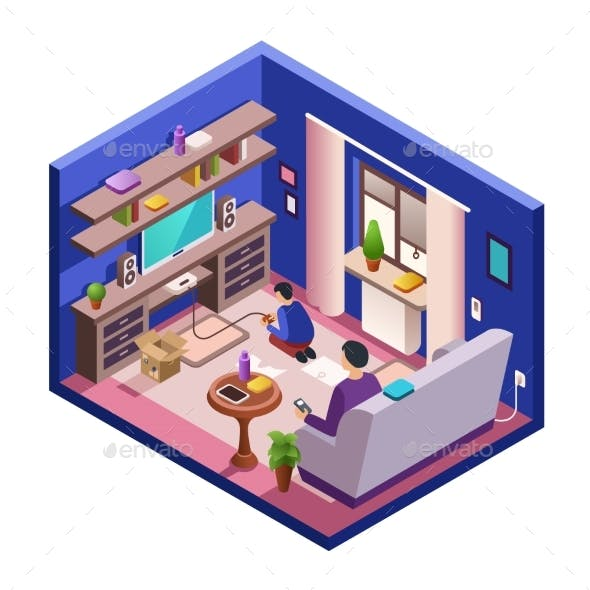Vector Isometric Living Room Interior with People