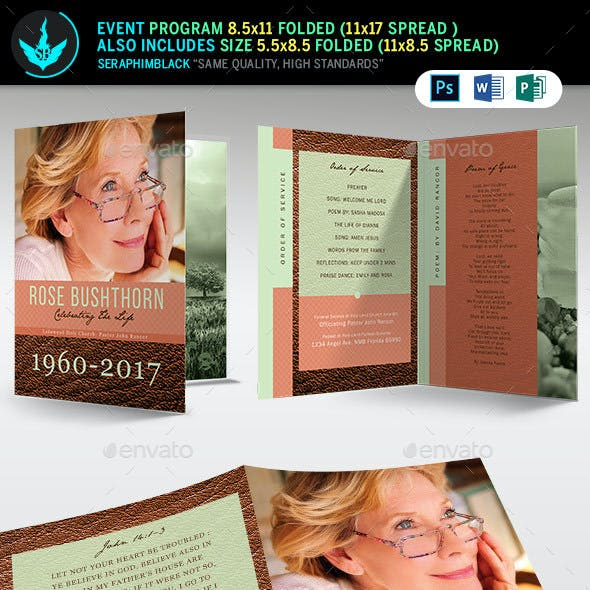 Leather Funeral Program Template 3