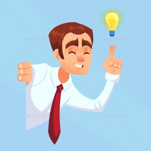 Businessman with Bulb Idea