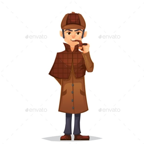 Detective Man Character Smoking Pipe Design