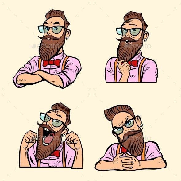 Collection of Different Emotions in Styled Beard