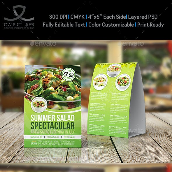 Salad Restaurant Table Tent Template