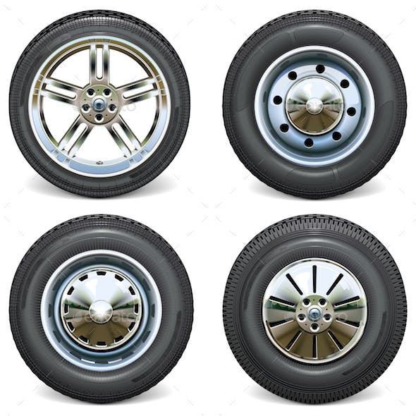 Vector Retro and Modern Car Wheels Side View