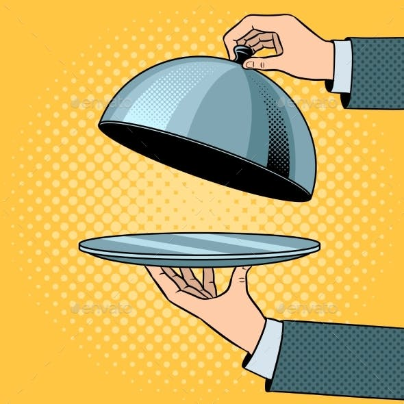 Dish Plate with Cloche Pop Art Vector