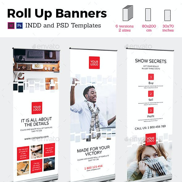 Rollup Stand Banner Display Digital Style 12x InDesign and Photoshop Template