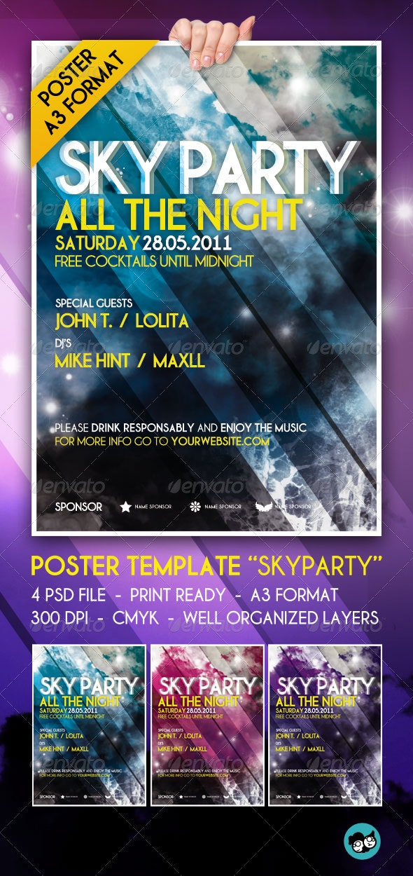 SkyParty Poster Template - Clubs & Parties Events