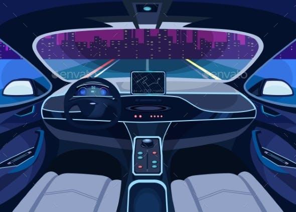 Futuristic Car Salon With Gps Autopilot Vehicle By Cookamoto