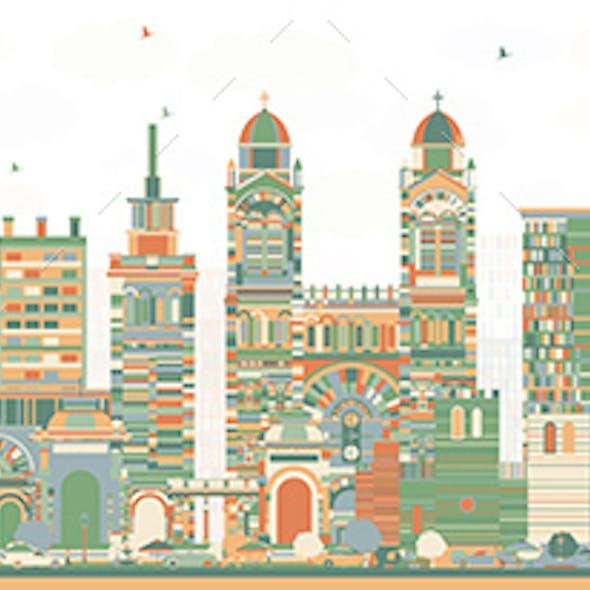 Marseille France City Skyline with Color Buildings