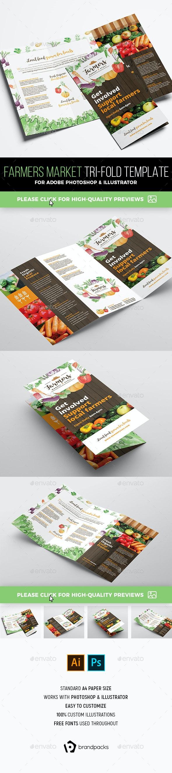 Farmers Market Tri-Fold Brochure Template - Informational Brochures