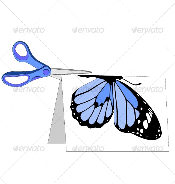 scissors with paper and butterfly 03 - Concepts Business