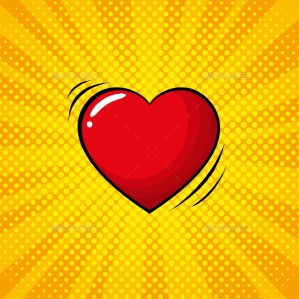 Colorful Pop Art Retro Heart