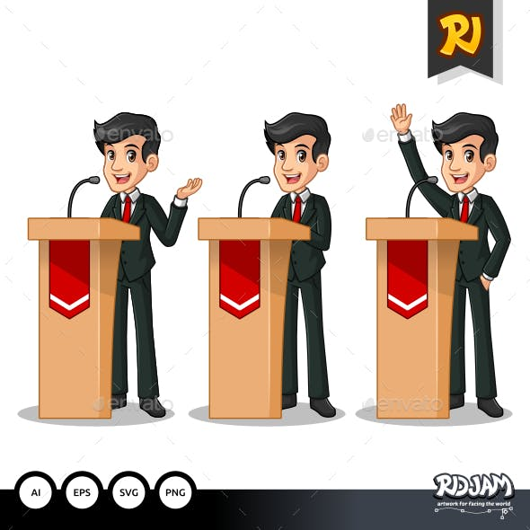 Set of Businessman in Black Suit Giving a Speech Behind Rostrum