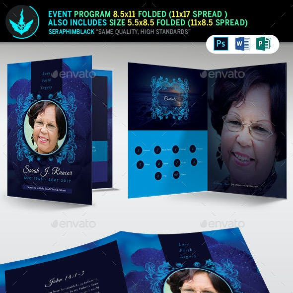 Blue Rose Funeral Program Template