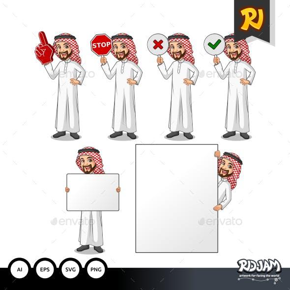 Set of Businessman Saudi Arab Man Holding Sign Board