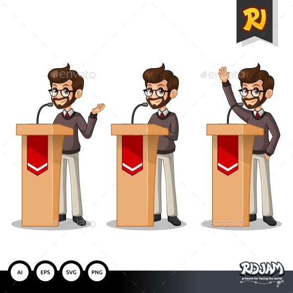 Set of Hipster Businessman Giving a Speech Behind Rostrum