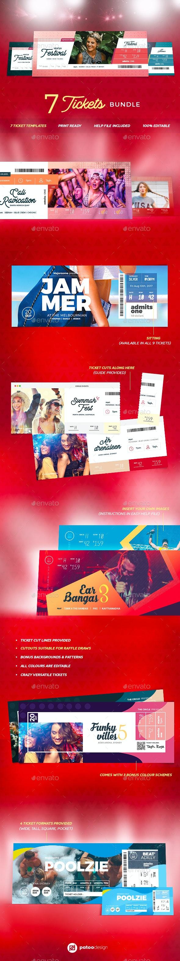 Event Tickets Bundle - Miscellaneous Print Templates