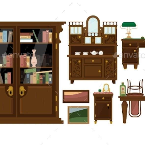 Flat Vector Set of Classic Wooden Furniture