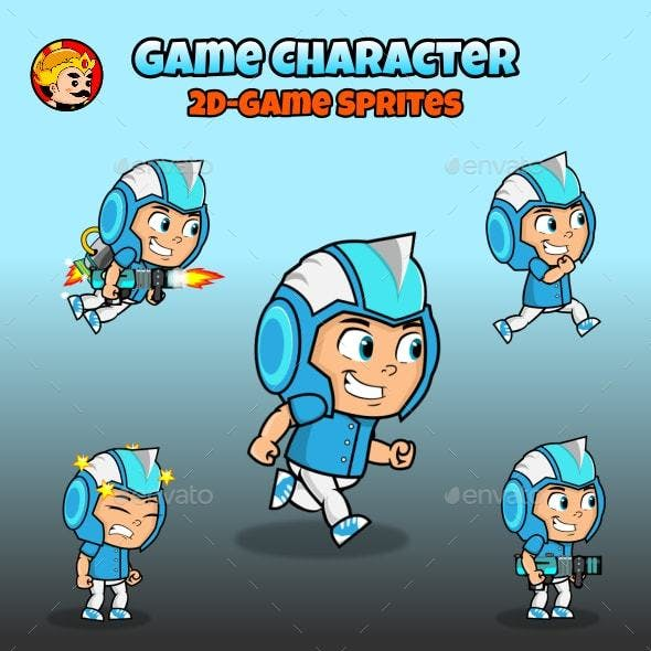 2D Game Character Sprites - Blue Suit