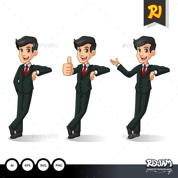 Set of Businessman in Black Suit Stand Leaning Against