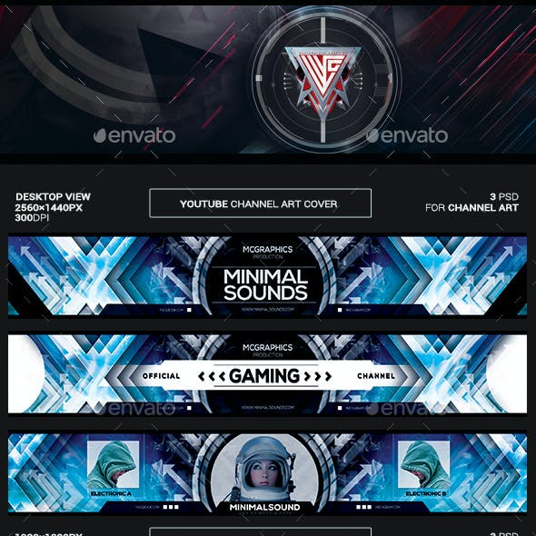 Minimal Sounds Youtube Channel Art/Video Thumbnail and Ending Video Template