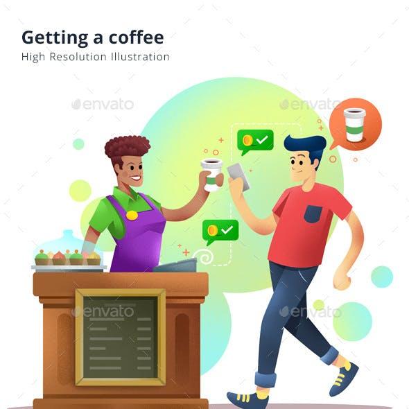 Getting a coffee