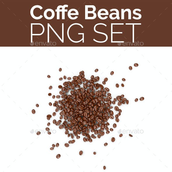 Coffee Beans PNG Set
