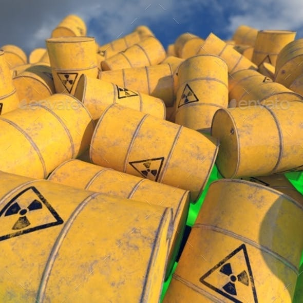 Barrels with Radioactive Waste. 3D Render.