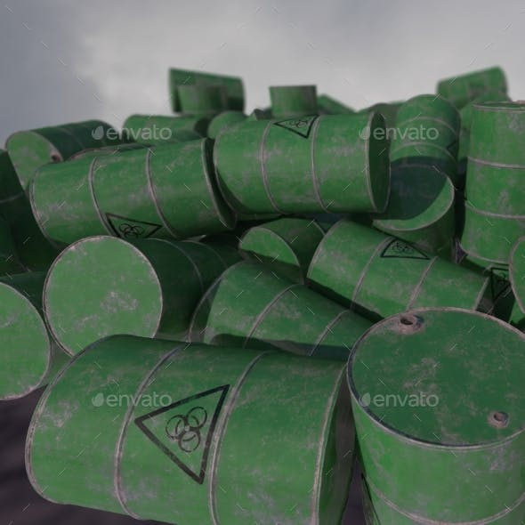 Barrels of Biological Waste. Isolated . 3D Render.