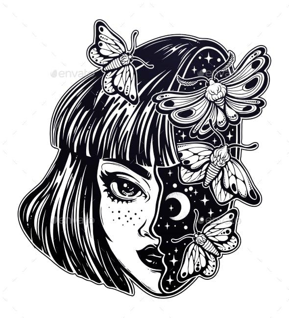 Magic Girls Head As Sky Full of Moth Butterflies.