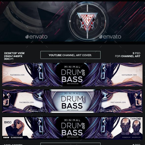 Minimal Drum and Bass Youtube Channel Art/Video Thumbnail and Ending Video Template
