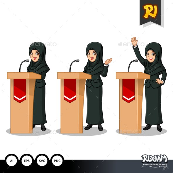 Set of Businesswoman in Black Suit with Veil Giving a Speech Behind Rostrum