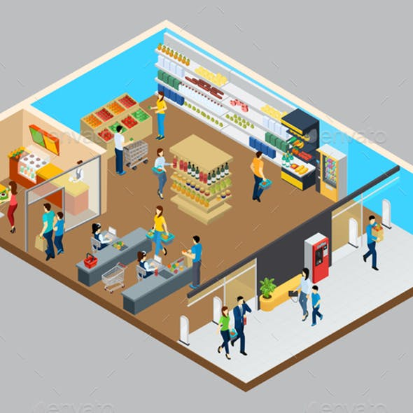 Grocery Store Isometric Design Concept