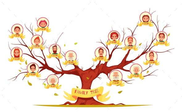 Family Tree Horizontal Cartoon Illustration - People Characters