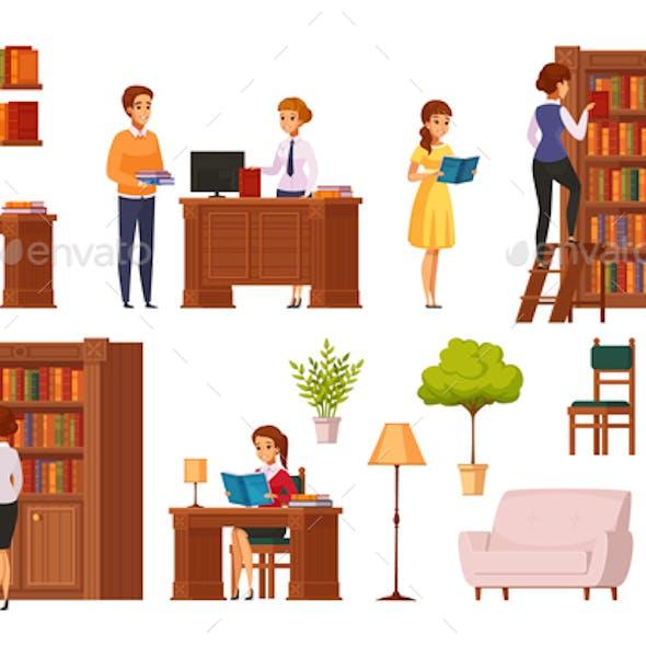 Library Flat Orthogonal Icons
