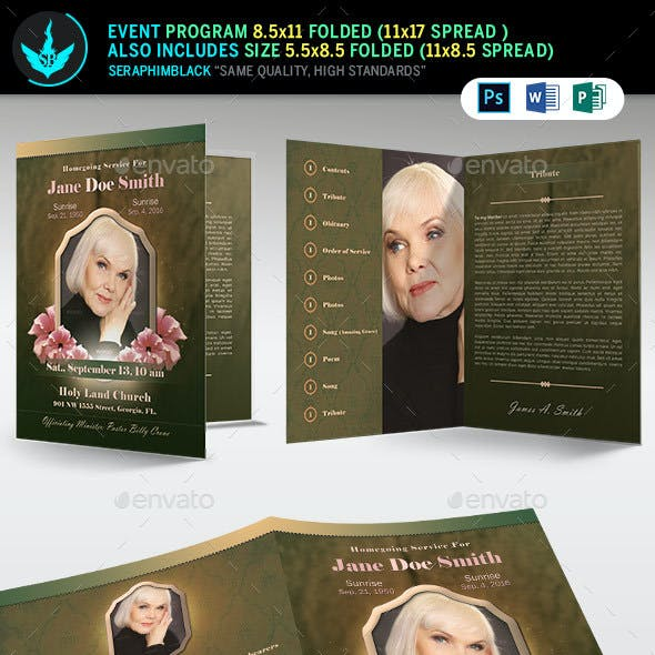 Vintage Green Funeral  Program Template