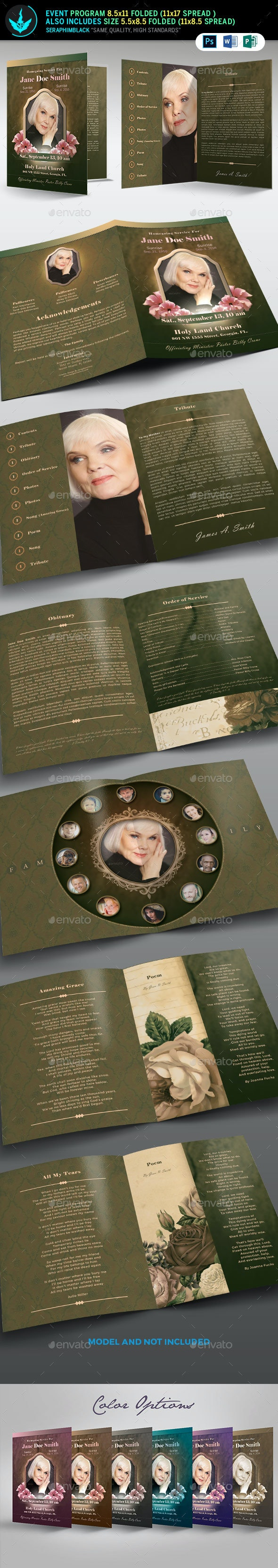 Vintage Green Funeral  Program Template - Informational Brochures