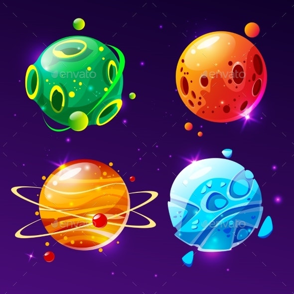Vector Cartoon Planets for Game Design Set - Objects Vectors