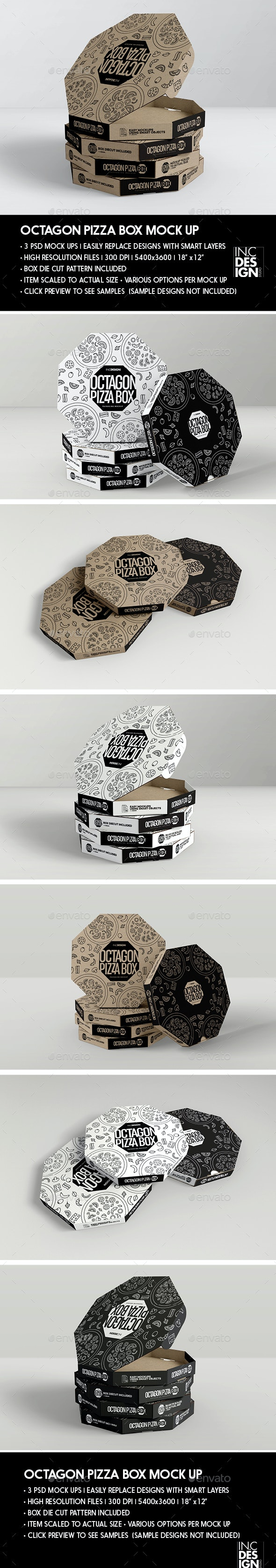Packaging Mock up Octagon Pizza Box - Food and Drink Packaging