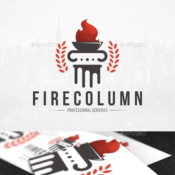 Column Fire Logo Template