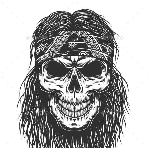 Skull with Hair