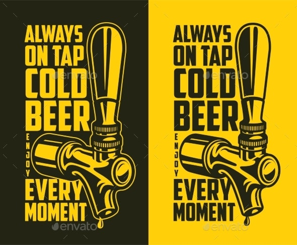 Beer Tap with Advertising Quote - Food Objects