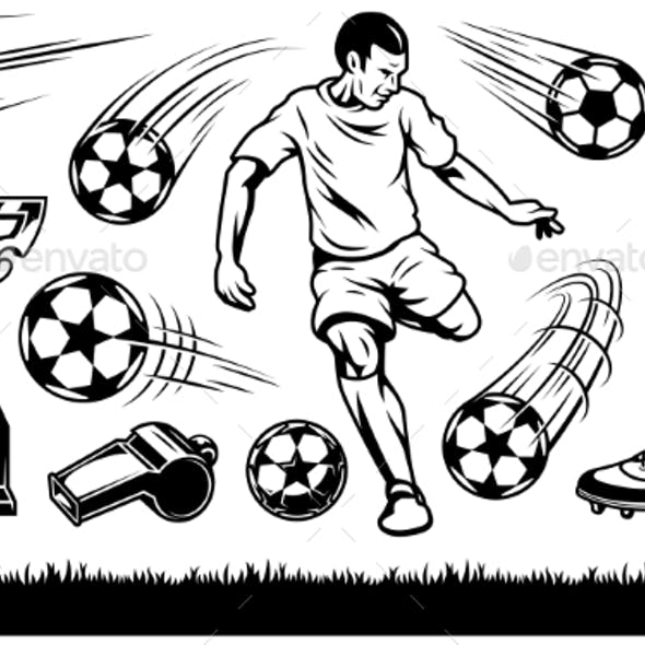 Set of Soccer Elements and Players